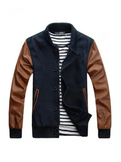 Navy Men s Baseball Letterman Jacket Any guy would want a varsity jacket. A  jacket but this must be letter 220bcef0b57