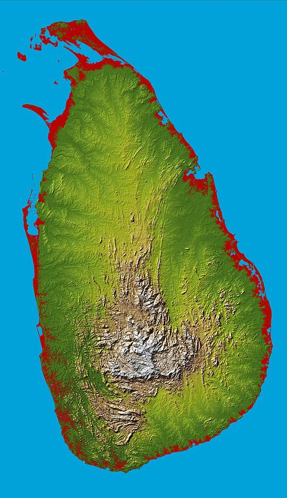 Topographic map of Sri Lanka Every Country has a Story SZ