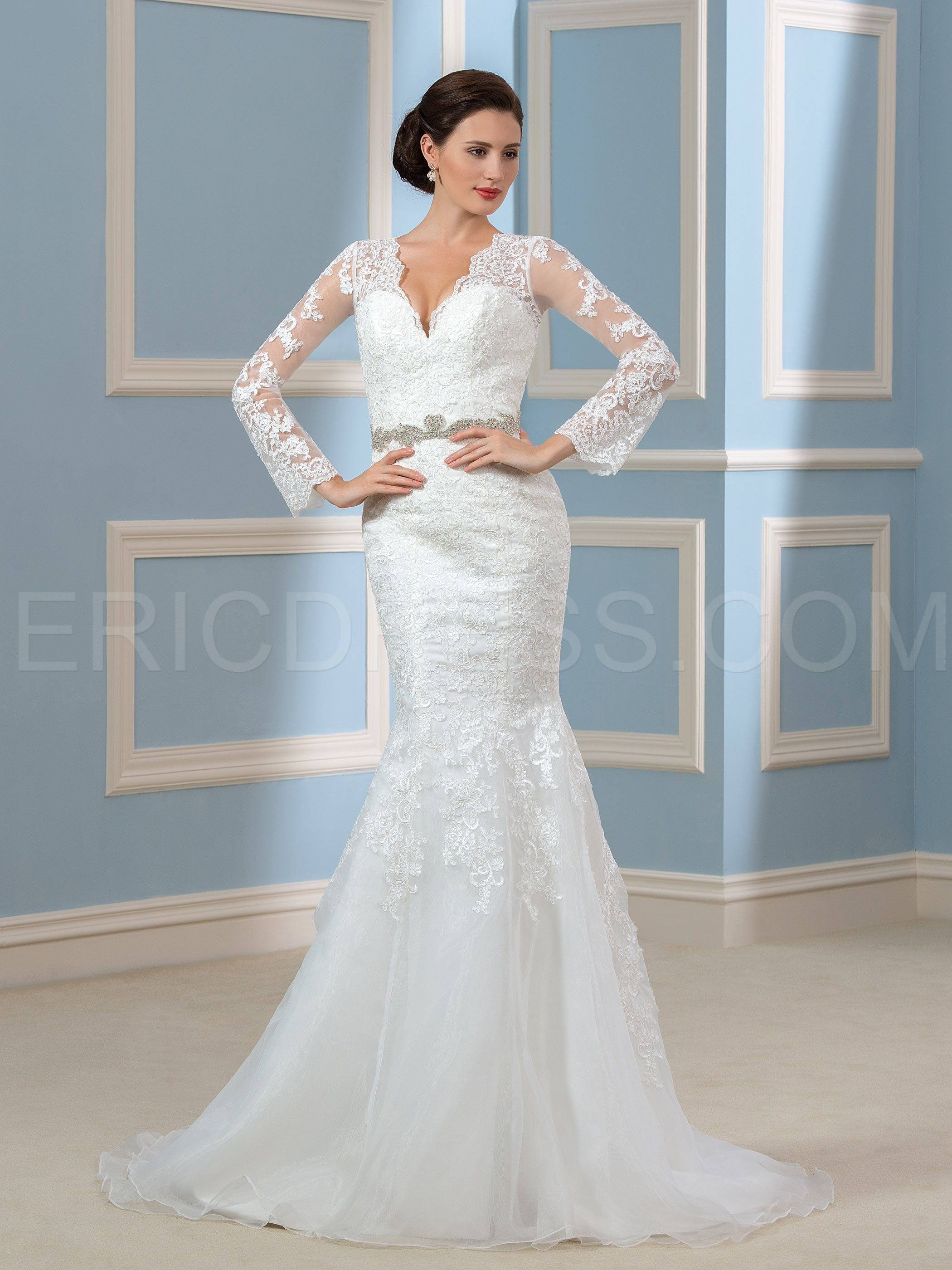 Ericdress Amazing V Neck Long Sleeves Mermaid Wedding Dress Wedding ...