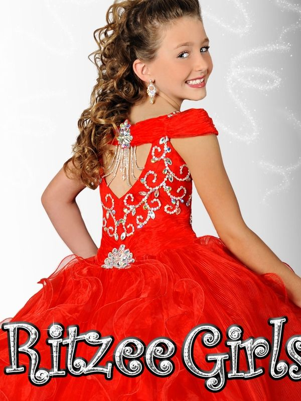 Ritzee Girls White Beaded Pageant Dress 6908|PageantDesigns.com ...