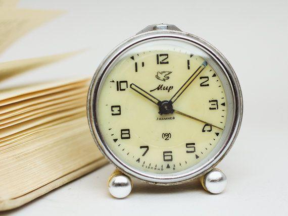 Early soviet Mir desk clock – vintage cream white alarm clock –retro office decor clock – stainless steel case russian ussr clock 70s