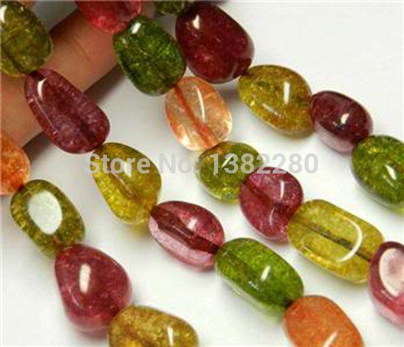 6ea89468a3d8 fashion DIY jewelry 10x16mm Multicolor Tourmaline EAm Loose Bead 15