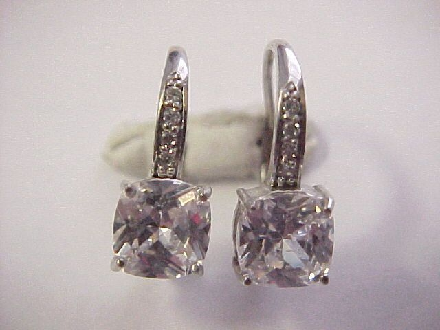 b751195ab sterling silver 2.00tcw cubic zirconia princess cut leverback earrings 925  #Unbranded #DropDangle