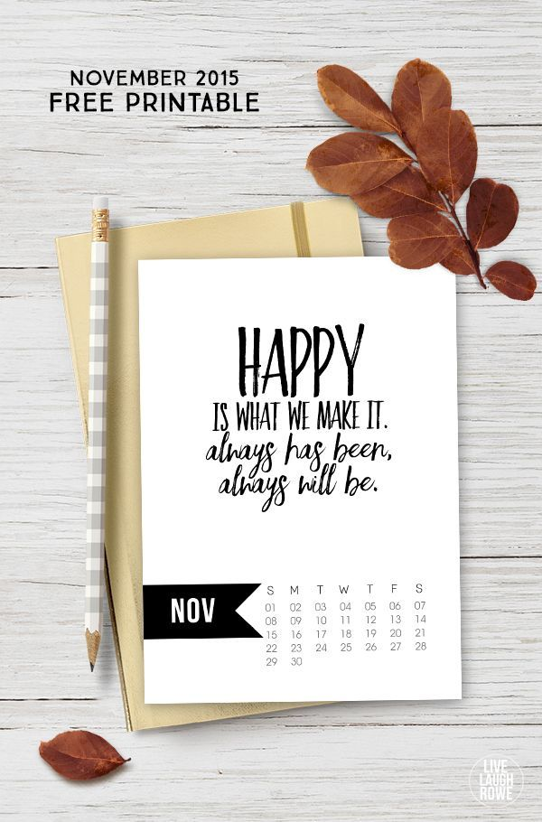 Diy Quote Calendar : Free november calendar printable inspirational
