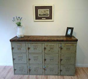 Good Vintage Industrial * Pidgeon Holes * Sideboard * School Lockers * Tv Cabinet