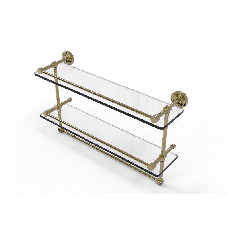 Allied Brass Dottingham Gallery Double Glass Shelf with Towel Bar ...
