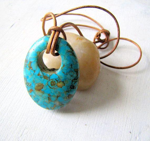 #Boho Leather #Necklace Impression Jasper Pendant by TwigsAndLace, $35.00