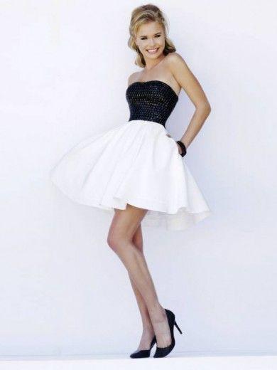 f5eb8a569 Corte a princesa estrapless corto mini satén vestido con bordado ...