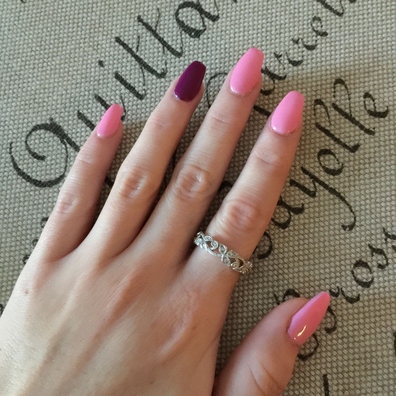 Coffin/ballerina acrylic nails. Colors: Bon Bon & Cherry Frost Done ...