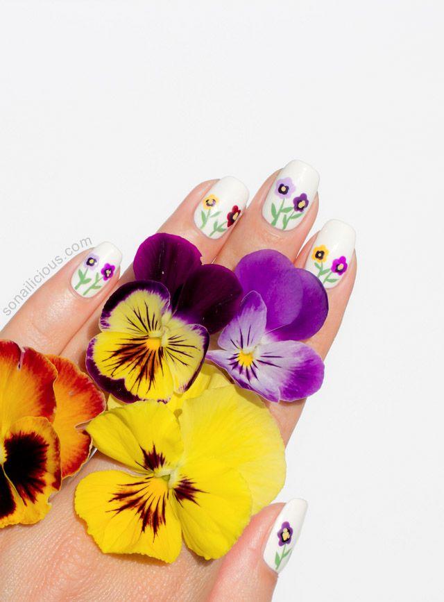 Siberian Pansy Flower Nail Art Tutorial Flower Nail Art Nail Art Summer Flower Nails