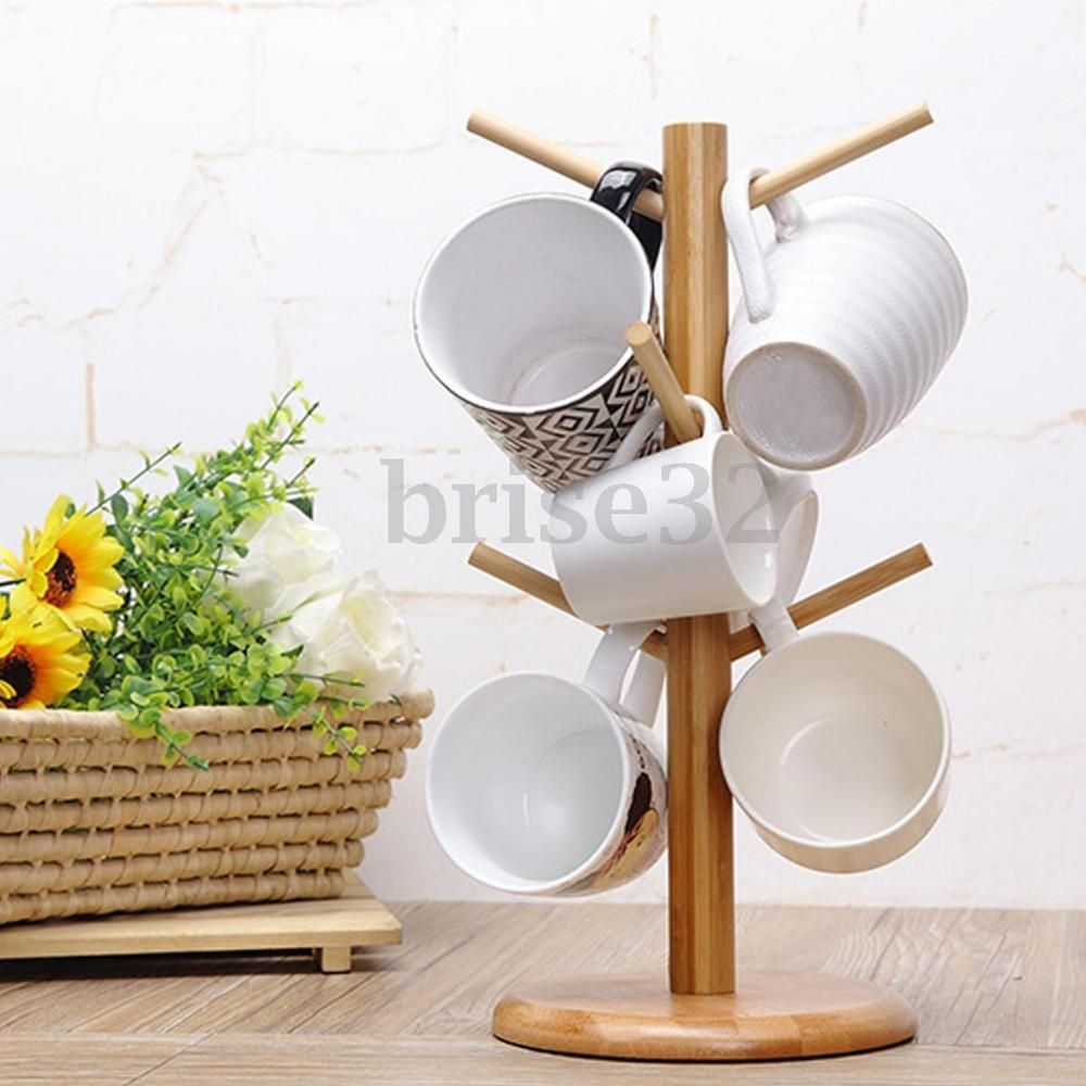 Wood Mug Tree Stand Cup Rack Cup Saucer Stand Coffee Cup Stand Tea Cup Stand Home Amp Garden Kitchen Dinin Coffee Cup Storage Tea Storage Kitchen Display