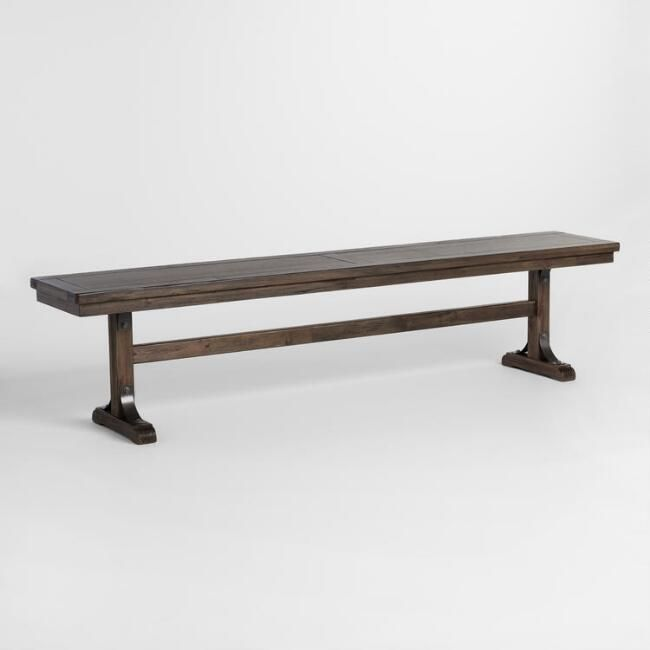 Ordinaire Distressed Wood Kenzie Dining Bench   V1
