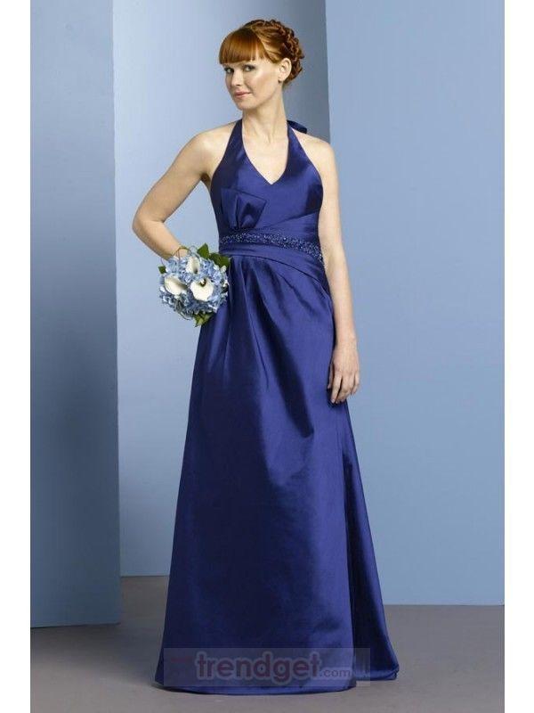 Amazing A-line Halter Floor-length Taffeta Blue Bridesmaid Dress $114.99