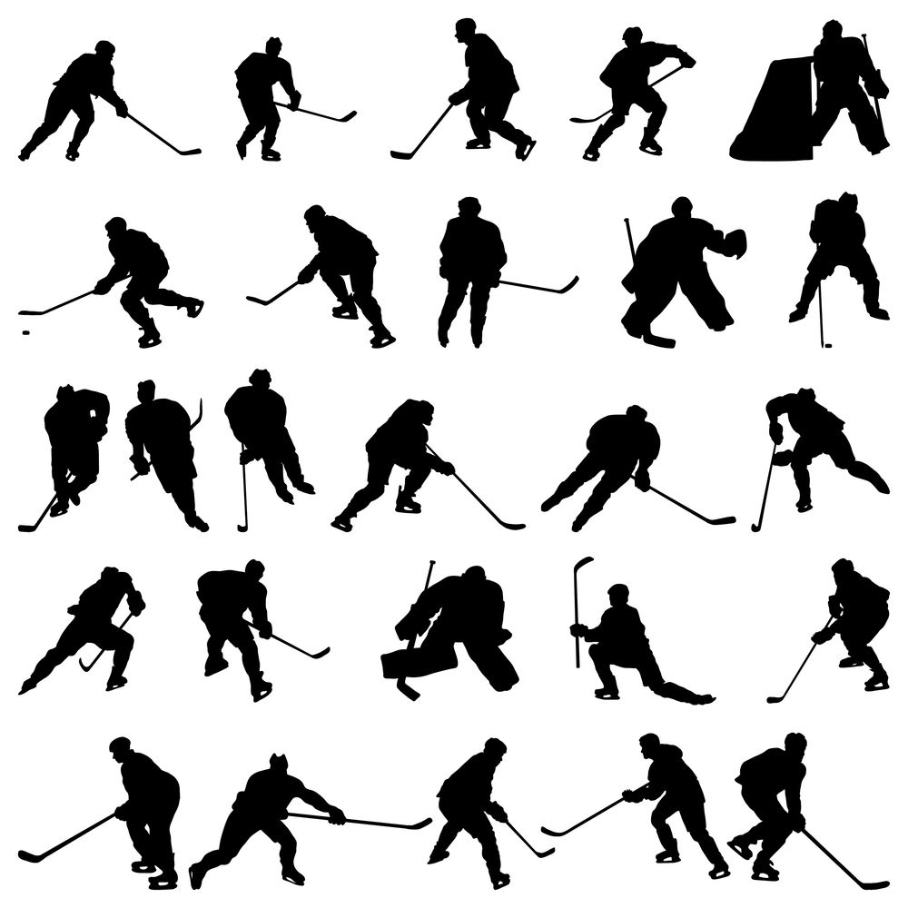 Big Collection Of Vector Ice Hockey Players Silhouettes Hockey Players Hockey Drawing Ice Hockey