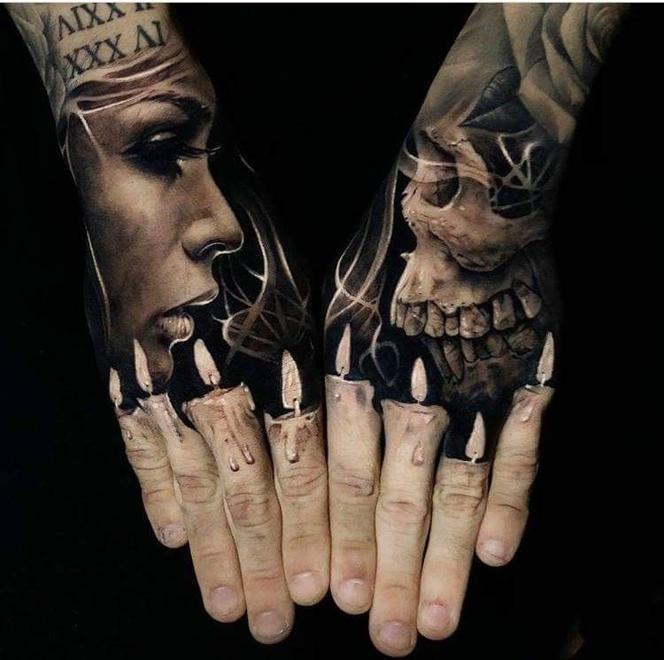 Insane Hand Tattoos For Guys Hand Tattoos Candle Tattoo