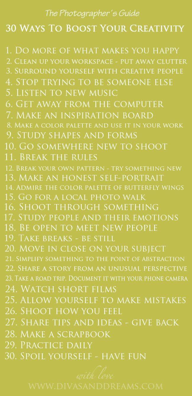 30 ways to spark your creativity #christinagreve