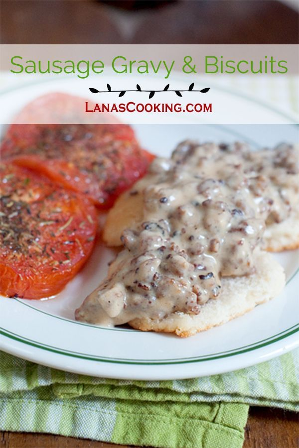 A hearty country breakfast of sausage gravy and bi do it yourself a hearty country breakfast of sausage gravy and biscuits with baked herbed tomato slices on the side find this pin and more on do it yourself solutioingenieria Image collections