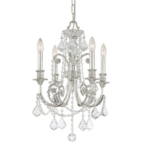 Crystorama Lighting Group Regis Olde Silver Four Light Chandelier - MASTER CLOSET