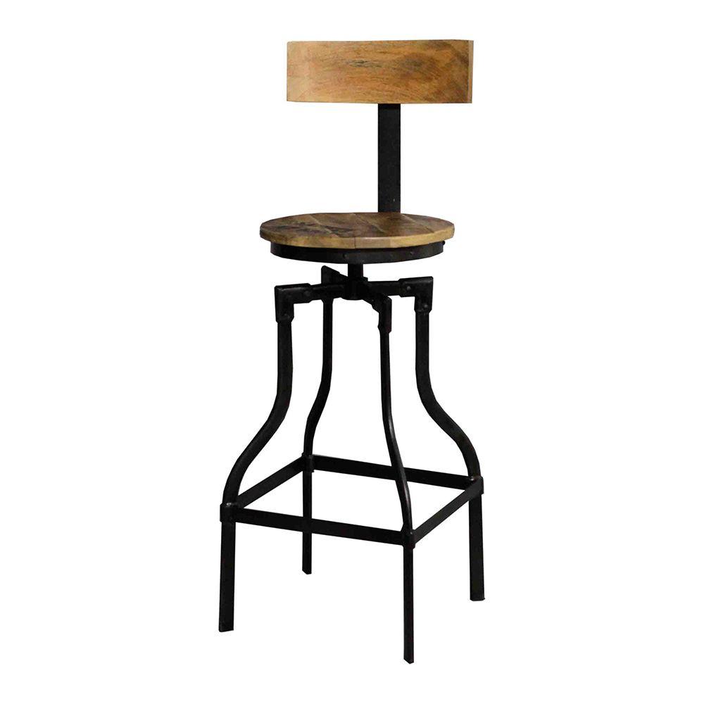 tabouret de bar acacia et fer ferraglia mobilier de salon chaise bar et tabouret