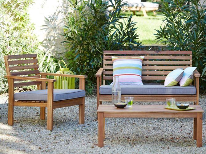 salon #jardin #bois #coussins #table | Jardin | Outdoor, beautiful ...