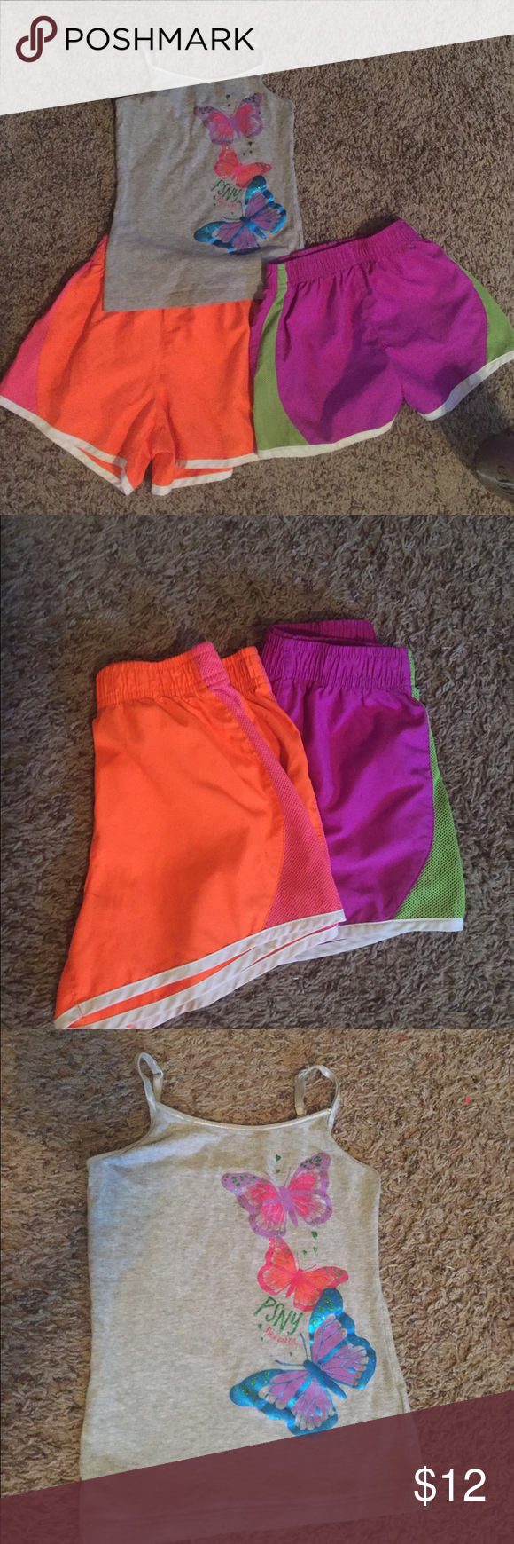 Cami and shorts outfit plus extra pair shorts P S Aeropostale brand size 6 cami style too with cute butterfly front design! Two pair Children's Place size 7/8 work out style shorts. All preloved but in Good condition! No rips tears or stains. Children's Place Bottoms