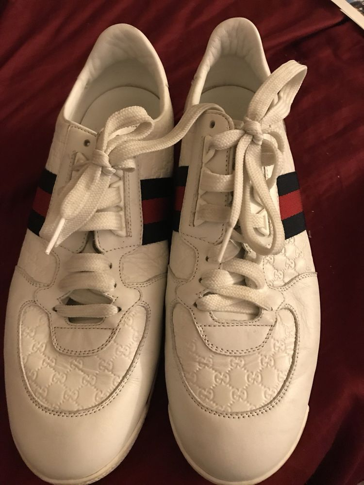 Used Authentic Gucci Ace Sneakers US Sz 8 mens #fashion