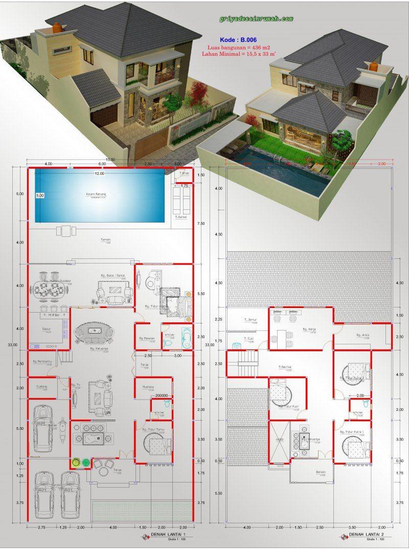 Gambar Denah Rumah 2 Lantai 5 Kamar Tidur Kolam Renang Desain