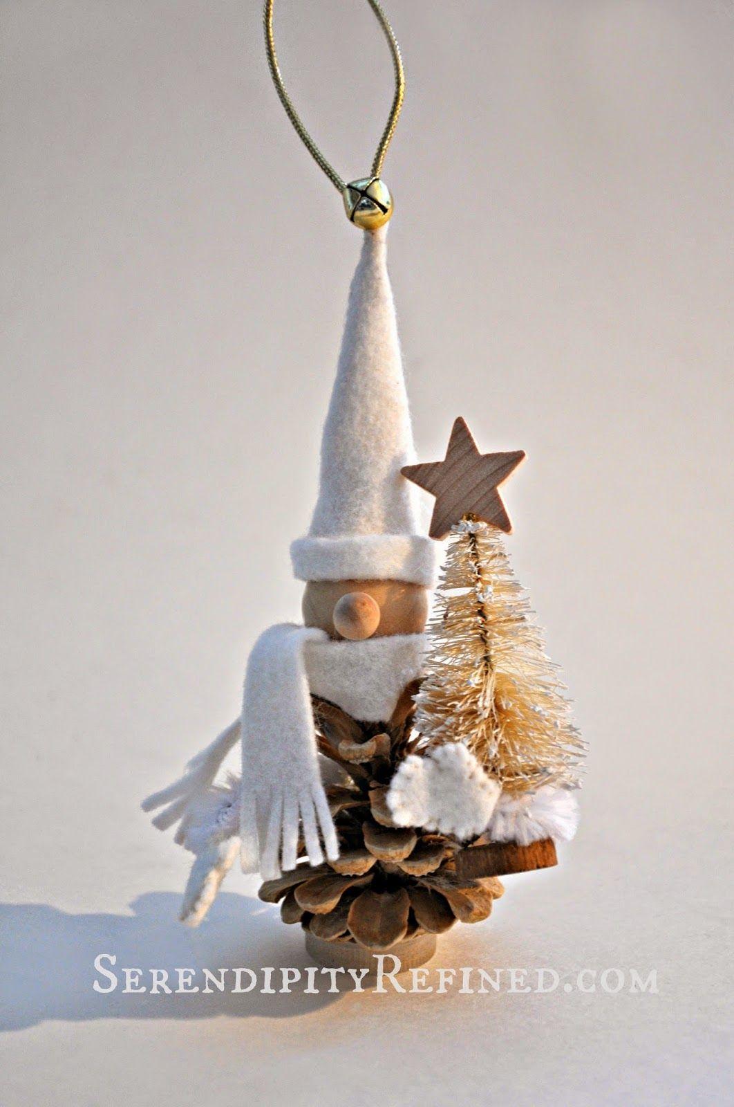Serendipity Refined Blog Bleached Pinecone Woodland Gnome Handmade Christmas Tree Christmas Diy Christmas Decorations
