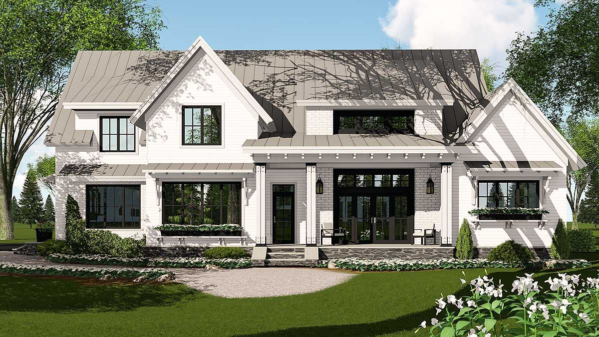 Plan 14662rk modern farmhouse plan rich with features for Rich house plans