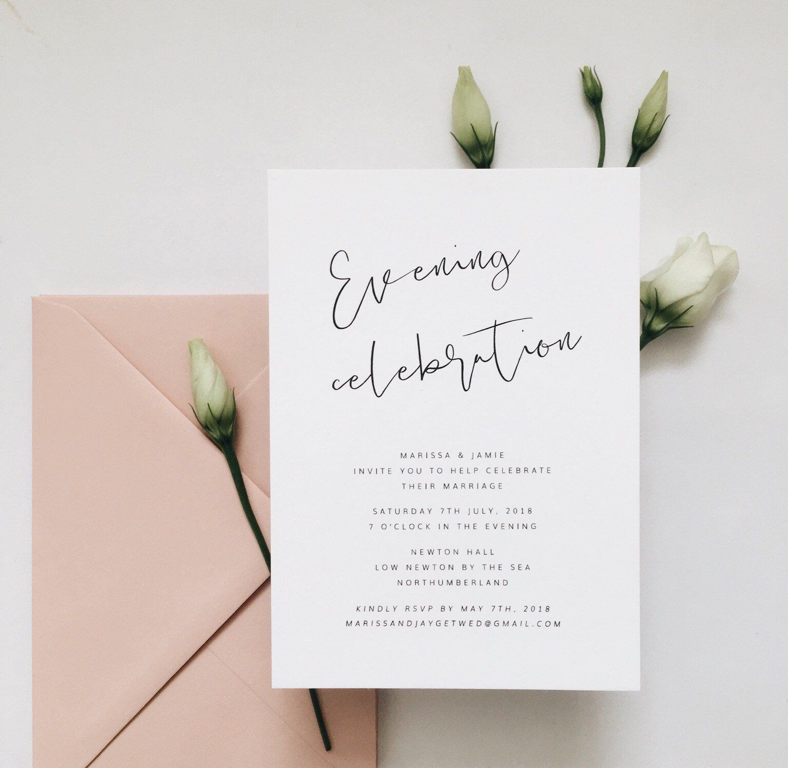Azalea Evening Wedding Invitation Minimal Wedding