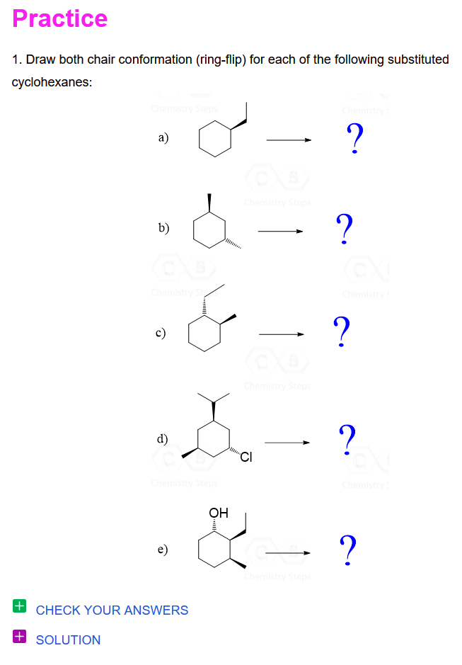Draw Both Chair Conformation Ring Flip For Each Of The Following Substituted Cyclohexanes Chemistry Flipping Organic Chemistry
