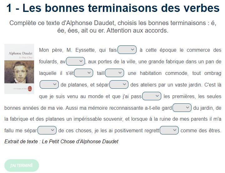 Exercice De Conjugaison Les Bonnes Terminaisons Des Verbes Exercices Conjugaison Jeux Educatifs En Ligne Alphonse Daudet
