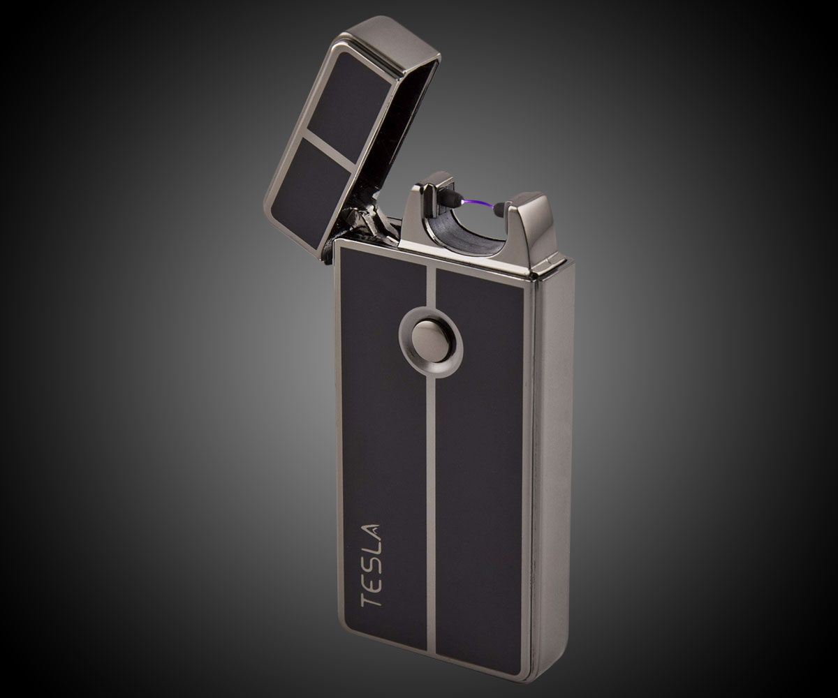 Tesla Coil Lighters are just one of your options if you're looking for a flameless, wind-proof lighter, but I think they're the cleverest looking. Simple, industrial exteriors with flip-tops that expose nifty arced coils serving as lighting me