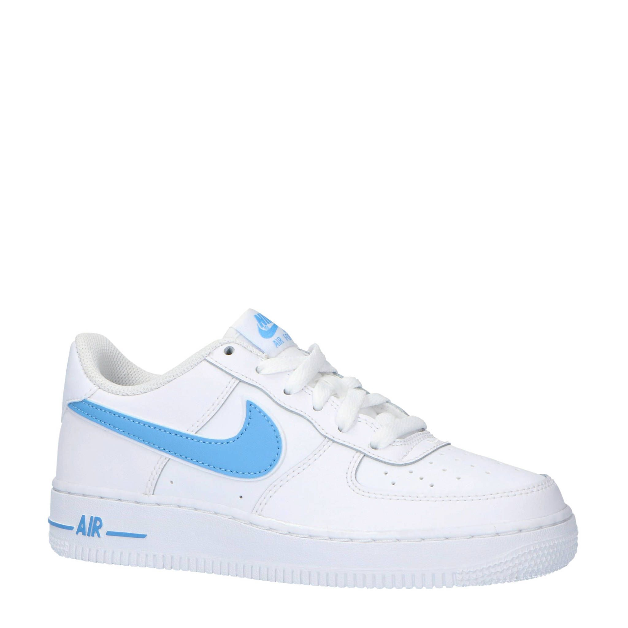 Air Force 1-3 (GS) sneakers leer wit/lichtblauw | Nike ...