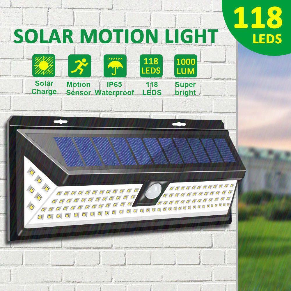 Waterproof 118LED Solar Powered Lamp Outdoor Garden Yard PIR Motion Sensor Light