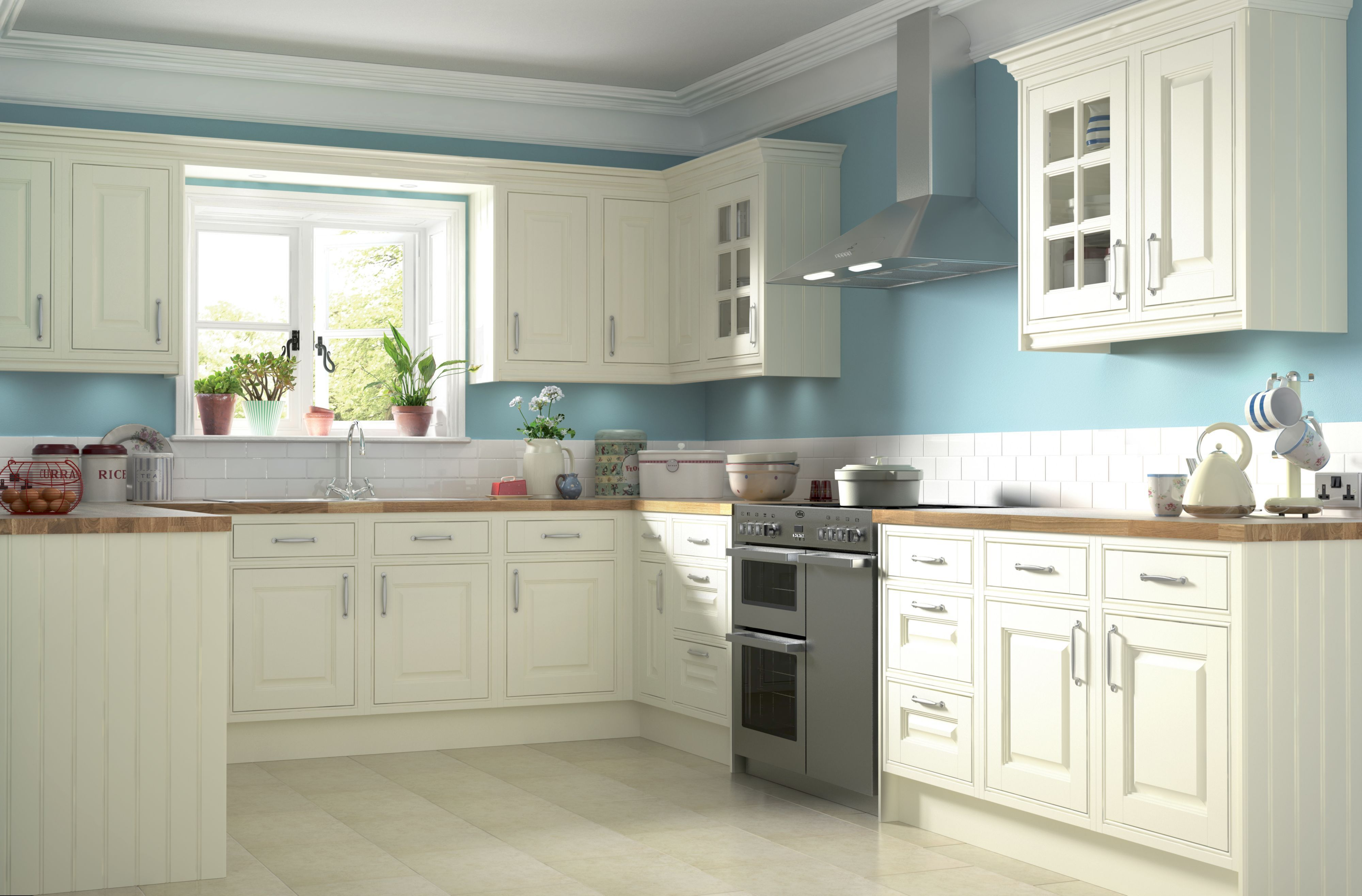 Enchanting Kitchen Color With White Tile Floor