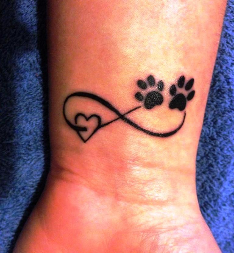 Memorial Tattoo Infinity Paw Print: Cute Dog Paw Print Memorial Wrist Tattoos