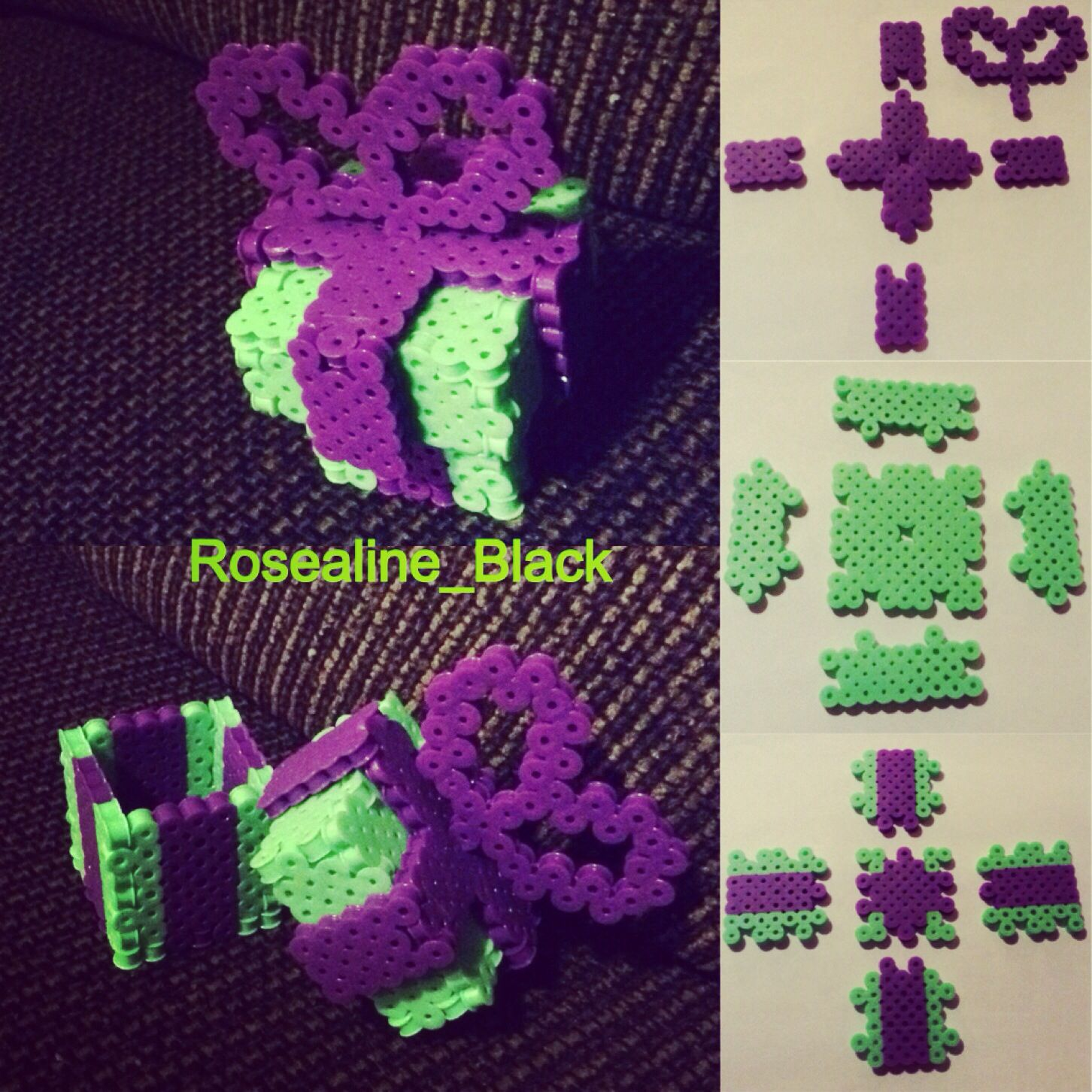 hight resolution of 3d perler bead box pattern designed and made by rosealine black
