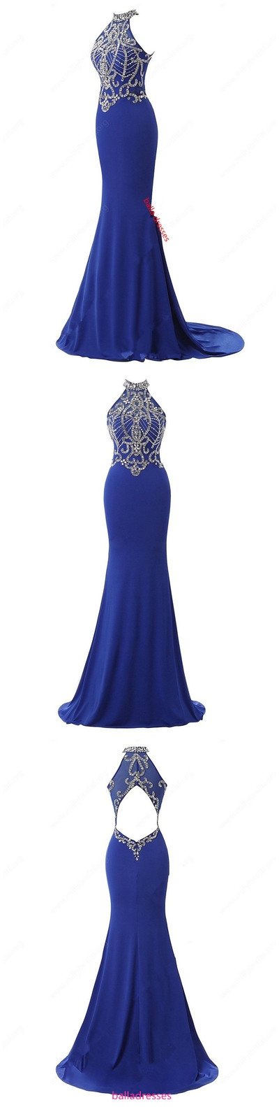 High Neck Chiffon Tulle Sweep Train Beading Open Back Trumpet/Mermaid Prom  Dresses from BallaDresses
