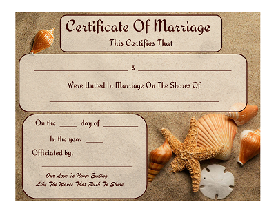 BeachOcean Themed Marriage Certificates Free Graphics and