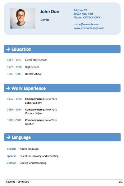 blue modern resume template cv design ideas Pinterest - free resume format download in ms word