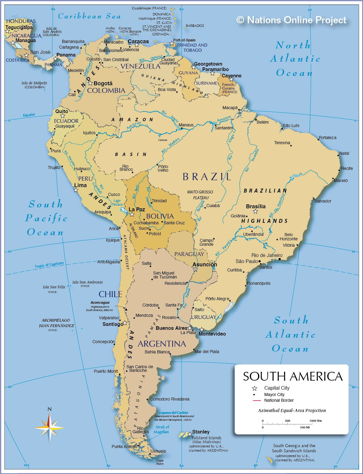 Political Map Of South America  Px Nations Online Project - Picture of map of united states with rivers and lakes labeled