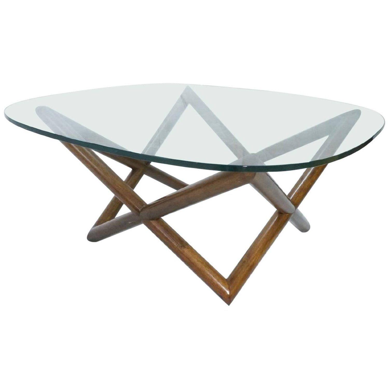 Mid Century Modern Glass Coffee Table With Walnut Base Modern