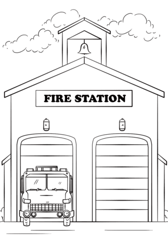 Fire Station Coloring Page Free Printable Coloring Pages Fcbaw32 Firehouse Clipart Blac Coloring Pages For Kids Preschool Coloring Pages Truck Coloring Pages