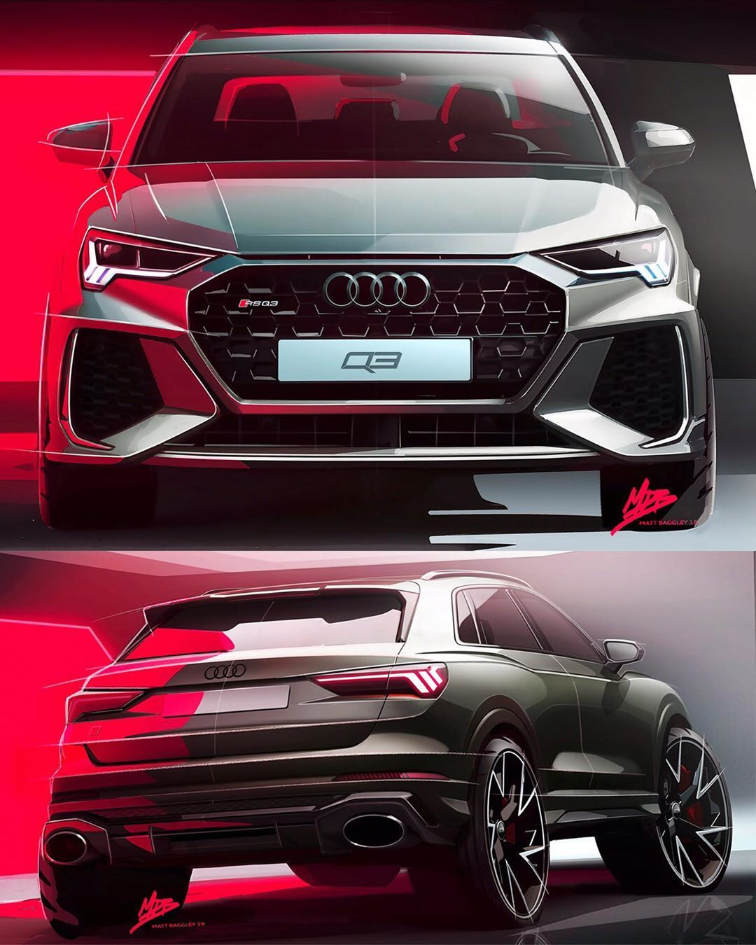 "Car Design World on Instagram: ""2020 Audi RSQ3 official sketches by Matt Baggley @matt_bagz  #cardesign #car #design #carsketch #sketch #audi #audiq3 #audirsq3 #audifans…"""