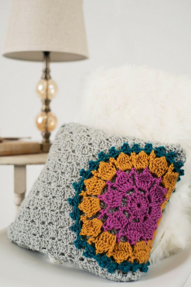 Modern crochet mandala pillow pattern. Spruce up your home decor ...