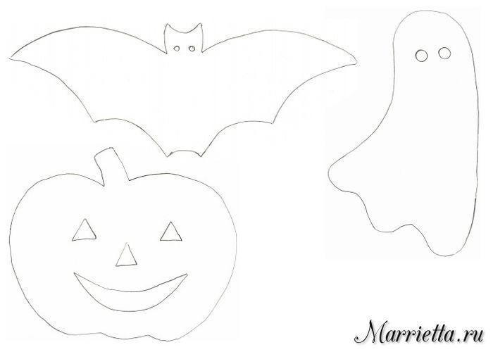 Colgantes con calabazas y murciélagos. Plantillas para Halloween (2 ...