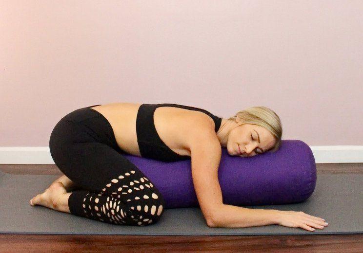 Melt Into This Restorative Yoga Routine To Lower Cortisol Slow Aging Restorative Yoga Yoga Poses Yoga Routine