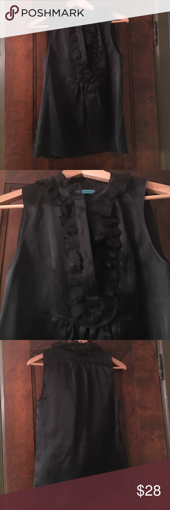 Alice and Olivia tuxedo sleeveless silk blouse. Alice and Olivia tuxedo sleeveless silk blouse. Four front functional buttons, festive ruffle detail, 100% silk. Alice + Olivia Tops Blouses