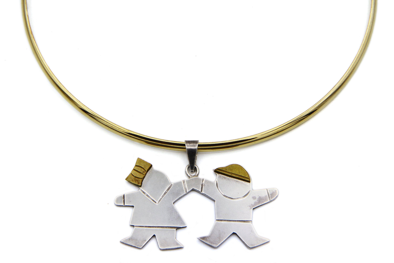 Boyfriend Girlfriend, Torc Torque Necklace, Happy Children Collar, Taxco Choker Necklace, Sterling Silver And Laton, Friendship Necklace